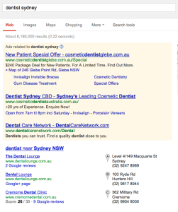 dentist sydney google search engine results first page
